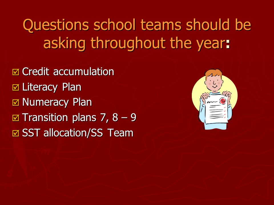 Questions school teams should be asking throughout the year: