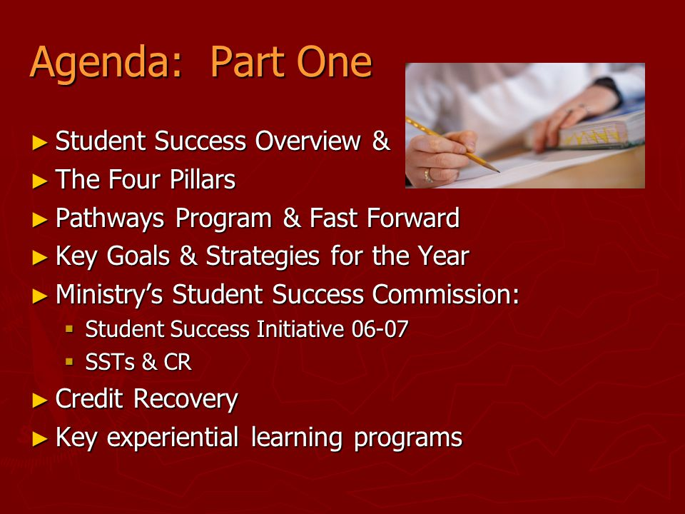 Agenda: Part One Student Success Overview & The Four Pillars