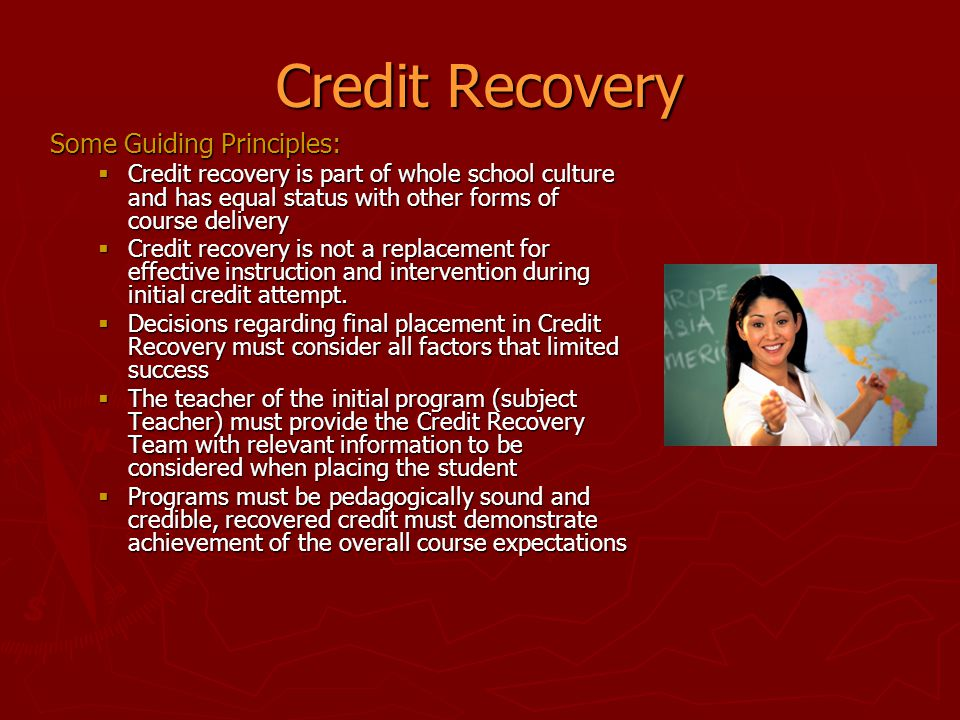 Credit Recovery Some Guiding Principles:
