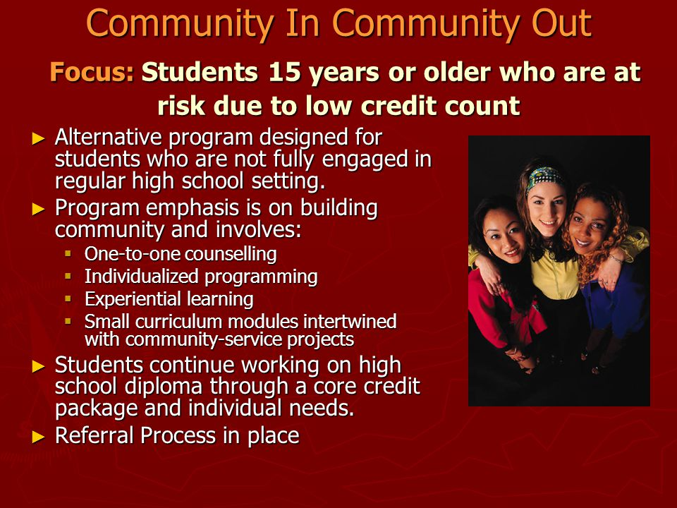 Community In Community Out Focus: Students 15 years or older who are at risk due to low credit count