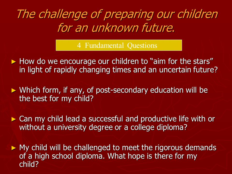 The challenge of preparing our children for an unknown future.