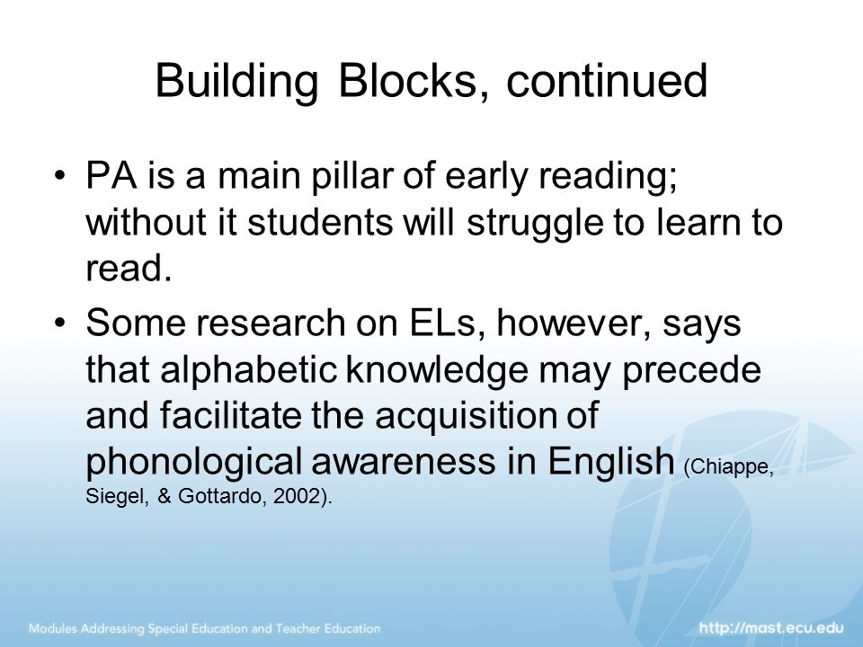 Building Blocks, continued