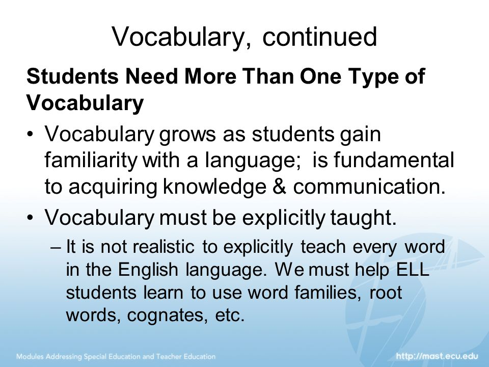 Vocabulary, continued Students Need More Than One Type of Vocabulary