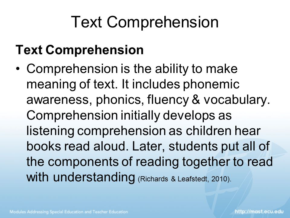 Text Comprehension Text Comprehension