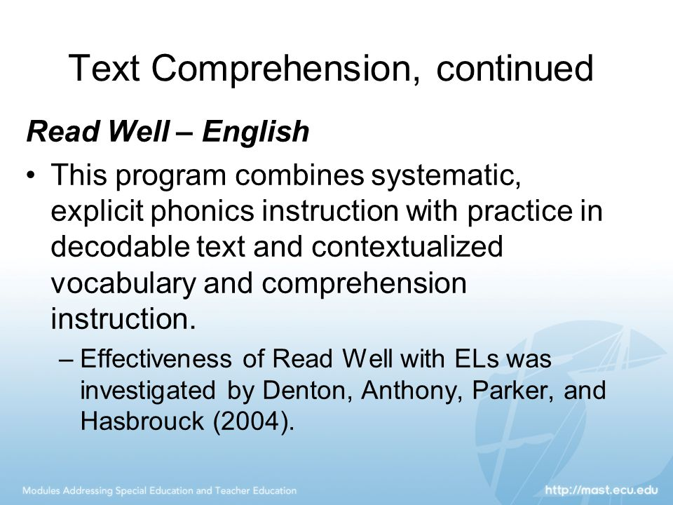 Text Comprehension, continued