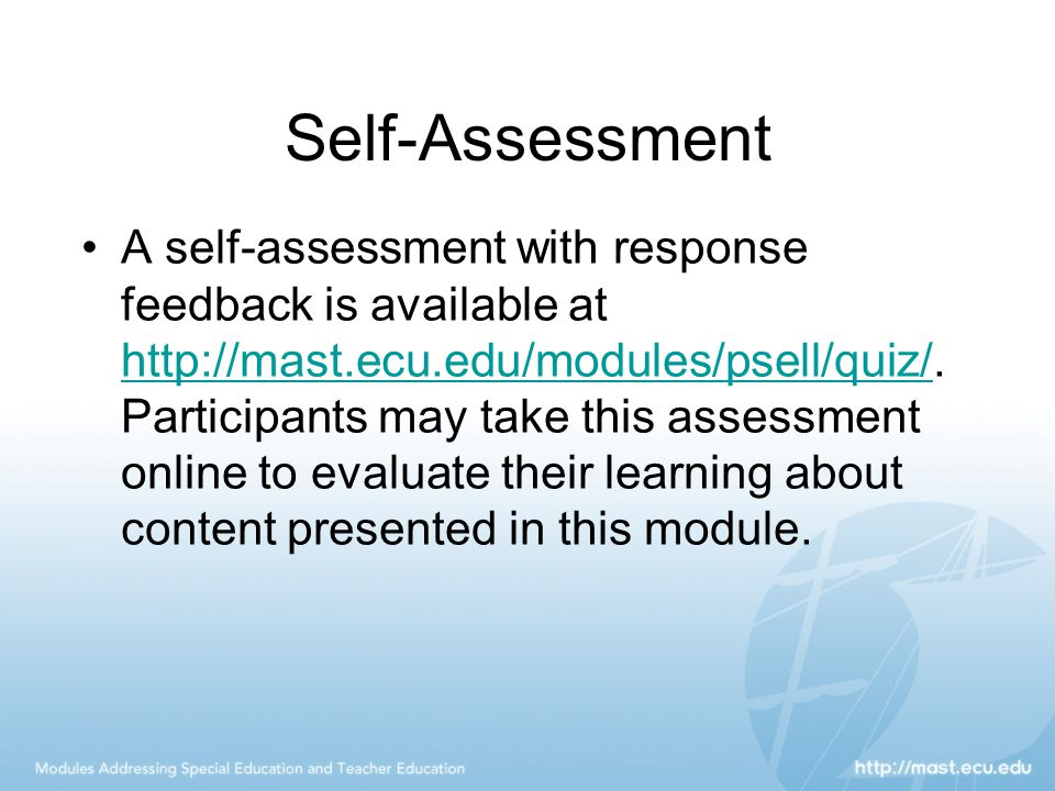 Self-Assessment