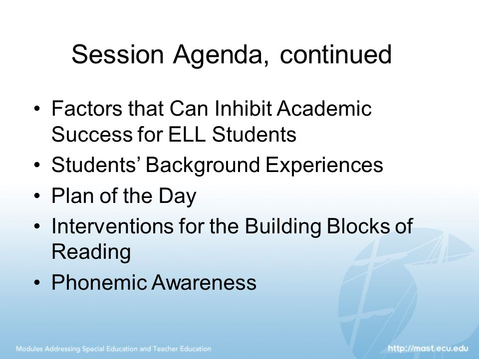 Session Agenda, continued