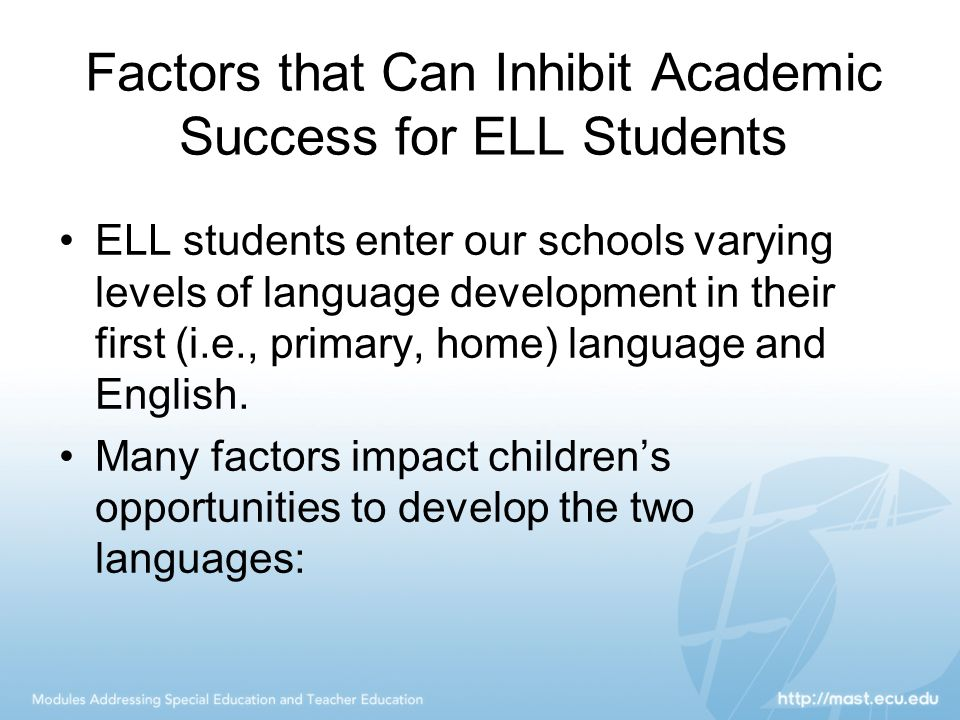 Factors that Can Inhibit Academic Success for ELL Students