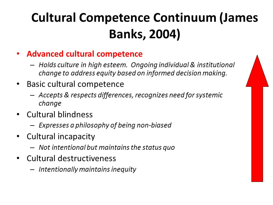 Cultural Competence Continuum (James Banks, 2004)