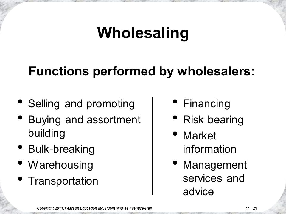 Wholesaling Functions performed by wholesalers: Selling and promoting