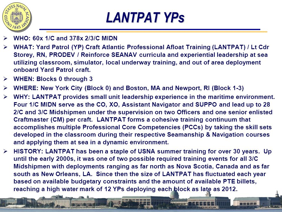LANTPAT YPs WHO: 60x 1/C and 378x 2/3/C MIDN
