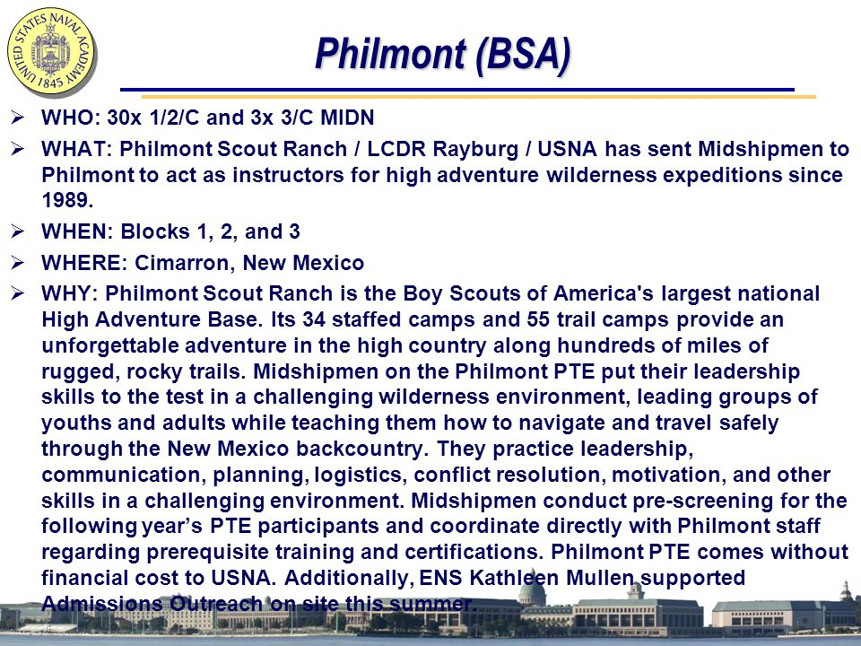 Philmont (BSA) WHO: 30x 1/2/C and 3x 3/C MIDN