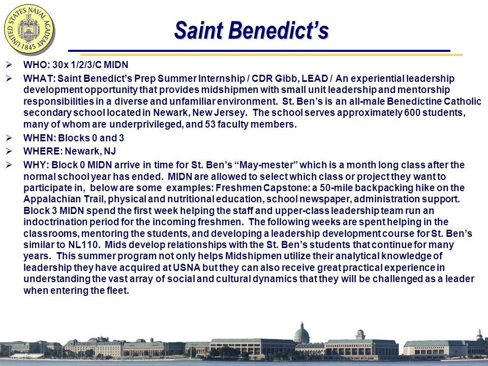 Saint Benedict's WHO: 30x 1/2/3/C MIDN