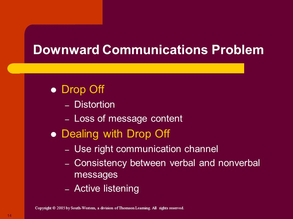 Downward Communications Problem