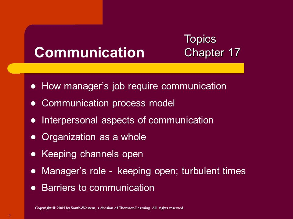 Communication Topics Chapter 17