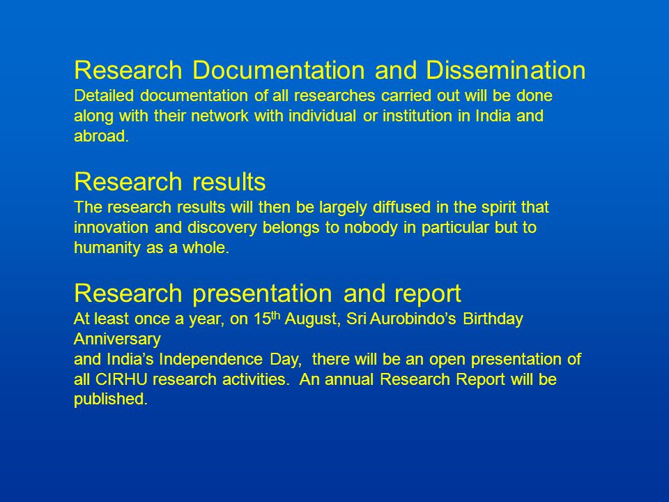 Research Documentation and Dissemination