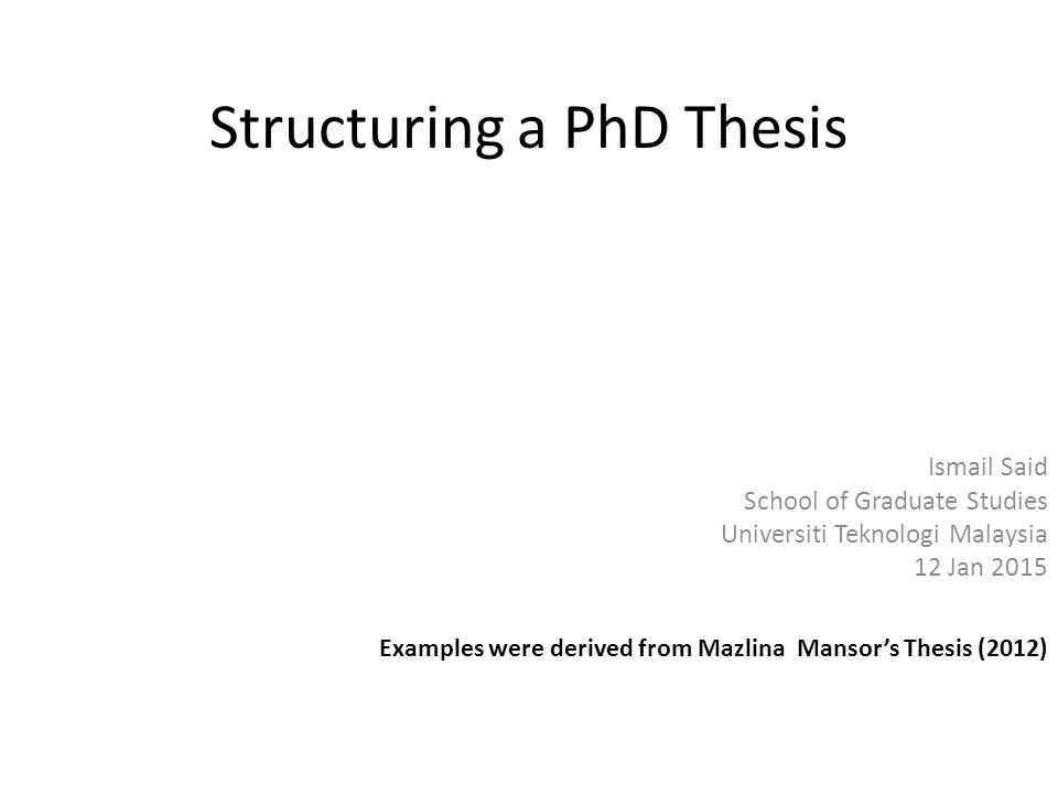 structuring a thesis Structuring your thesis time spent thinking about and planning how you will structure your thesis is time well spent start to organise the material that you have already written into folders relating to each chapter.