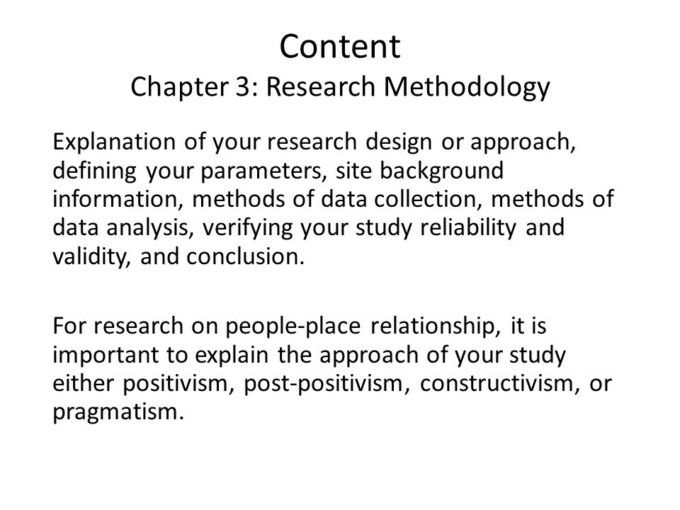 content of chapter 3 in thesis