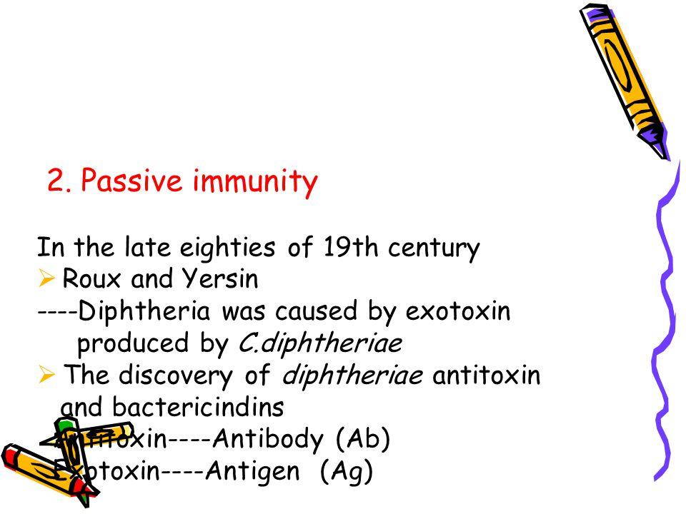 2. Passive immunity In the late eighties of 19th century