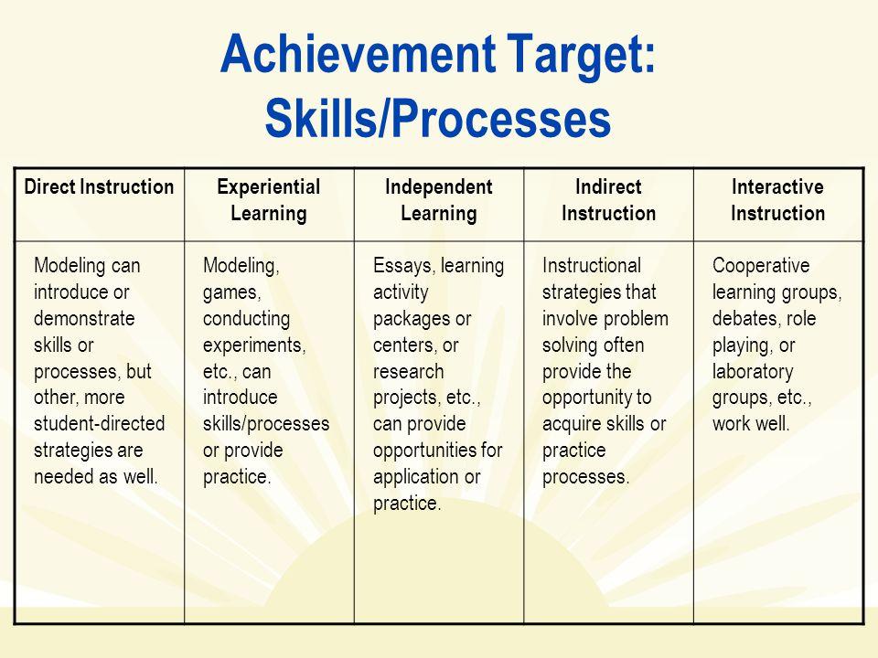 Achievement Target: Skills/Processes