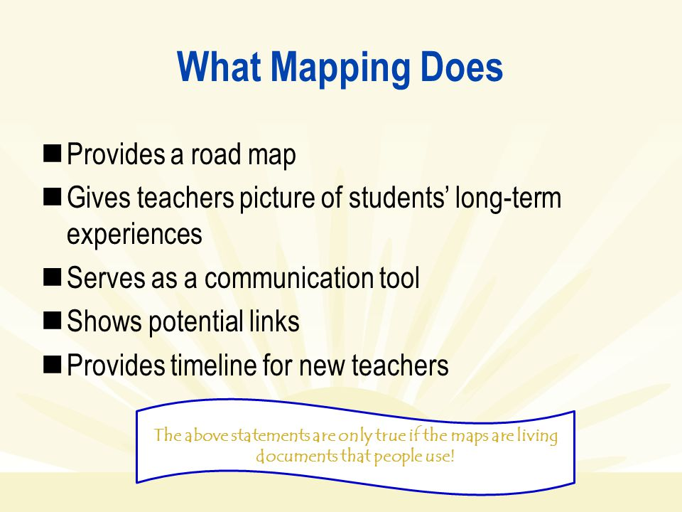 What Mapping Does Provides a road map