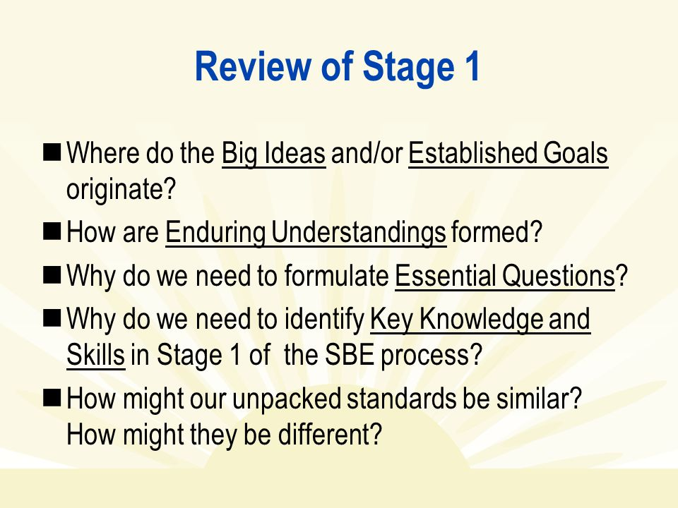 Review of Stage 1 Where do the Big Ideas and/or Established Goals originate How are Enduring Understandings formed