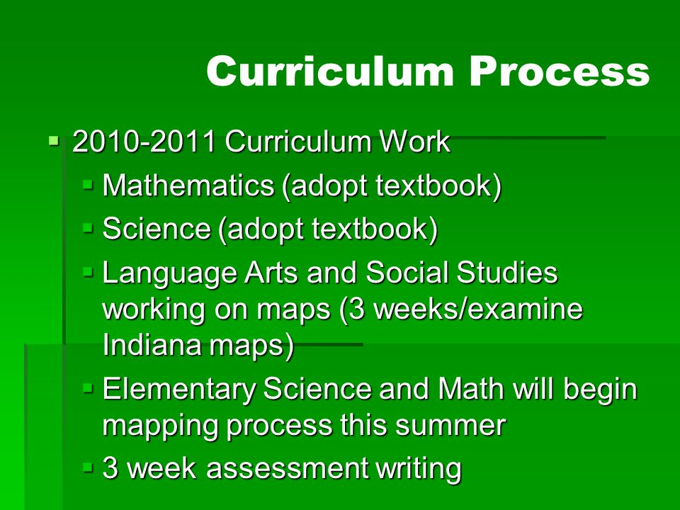 Curriculum Process 2010-2011 Curriculum Work
