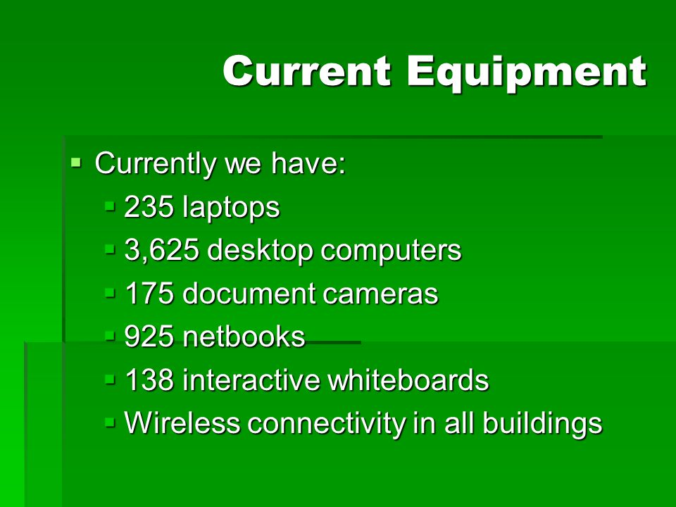 Current Equipment Currently we have: 235 laptops