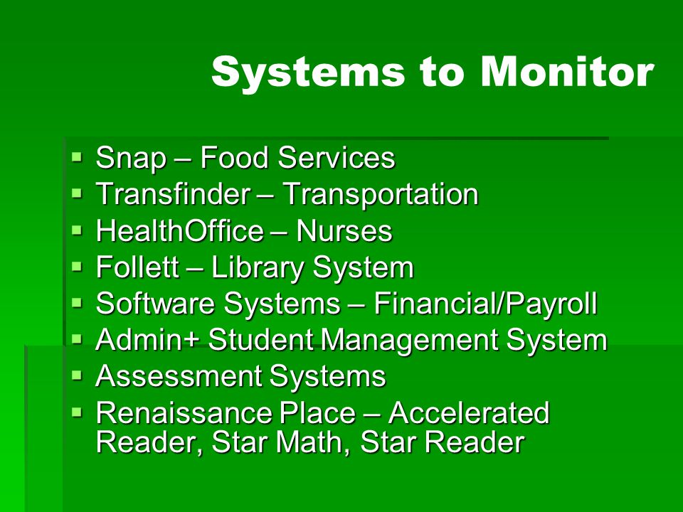 Systems to Monitor Snap – Food Services Transfinder – Transportation