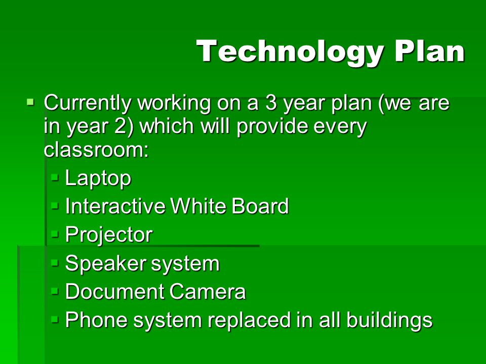 Technology Plan Currently working on a 3 year plan (we are in year 2) which will provide every classroom: