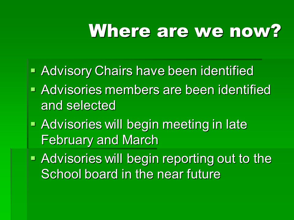 Where are we now Advisory Chairs have been identified
