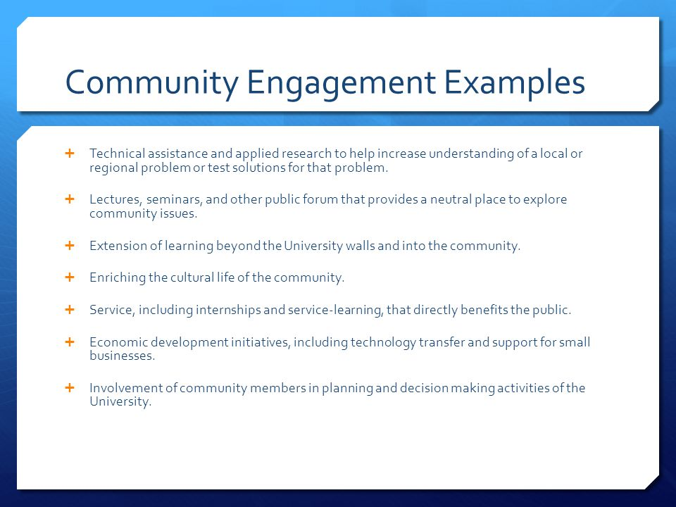 Community Engagement Examples