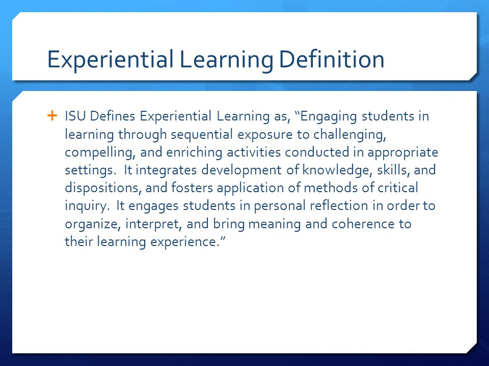 Experiential Learning Definition