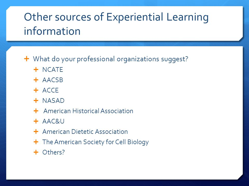 Other sources of Experiential Learning information
