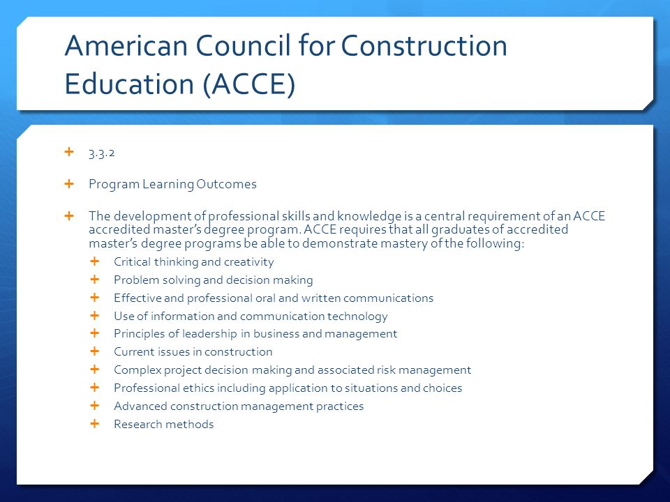 American Council for Construction Education (ACCE)