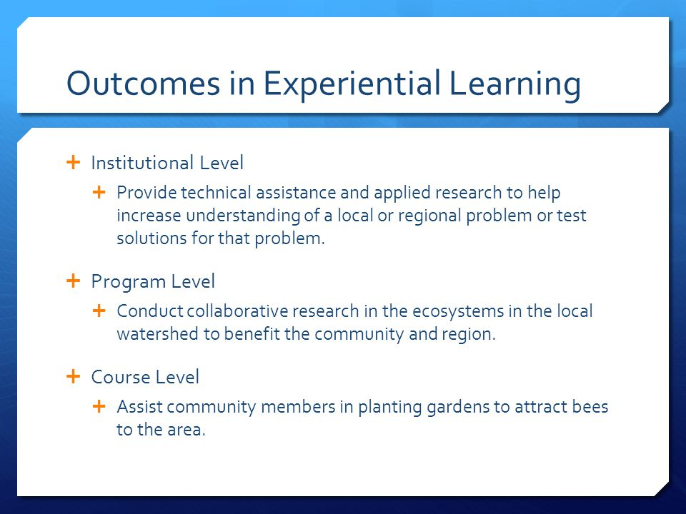 Outcomes in Experiential Learning