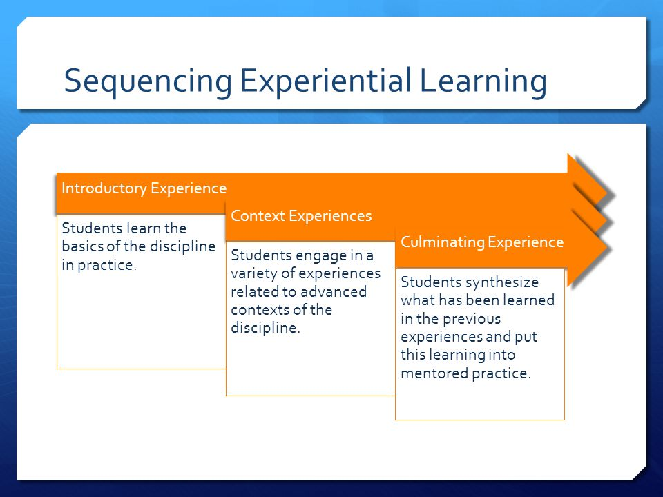 Sequencing Experiential Learning