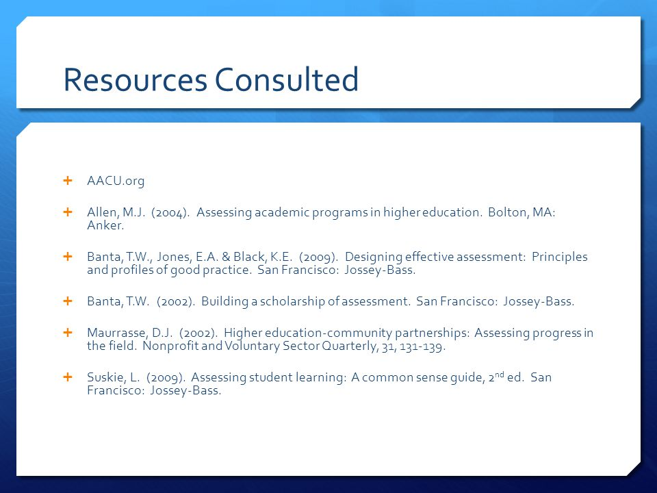 Resources Consulted AACU.org