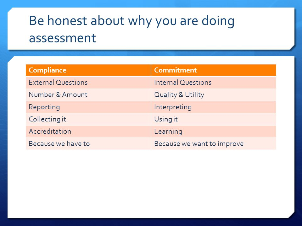 Be honest about why you are doing assessment