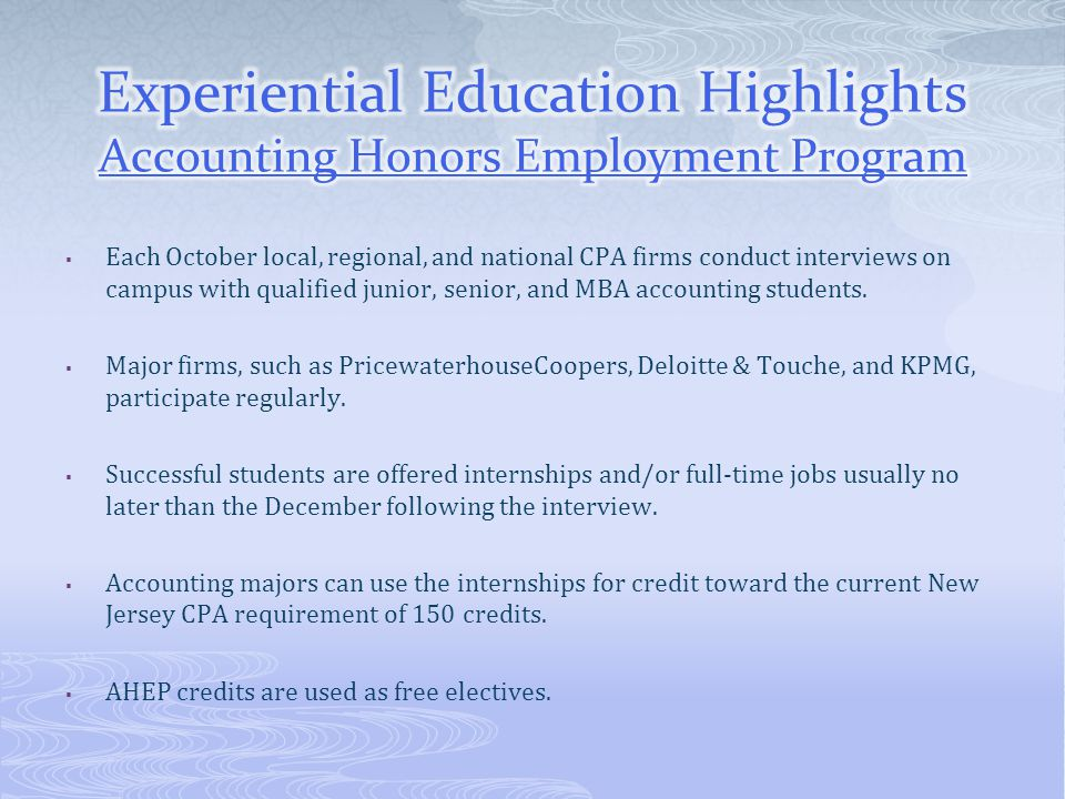 Experiential Education Highlights Accounting Honors Employment Program