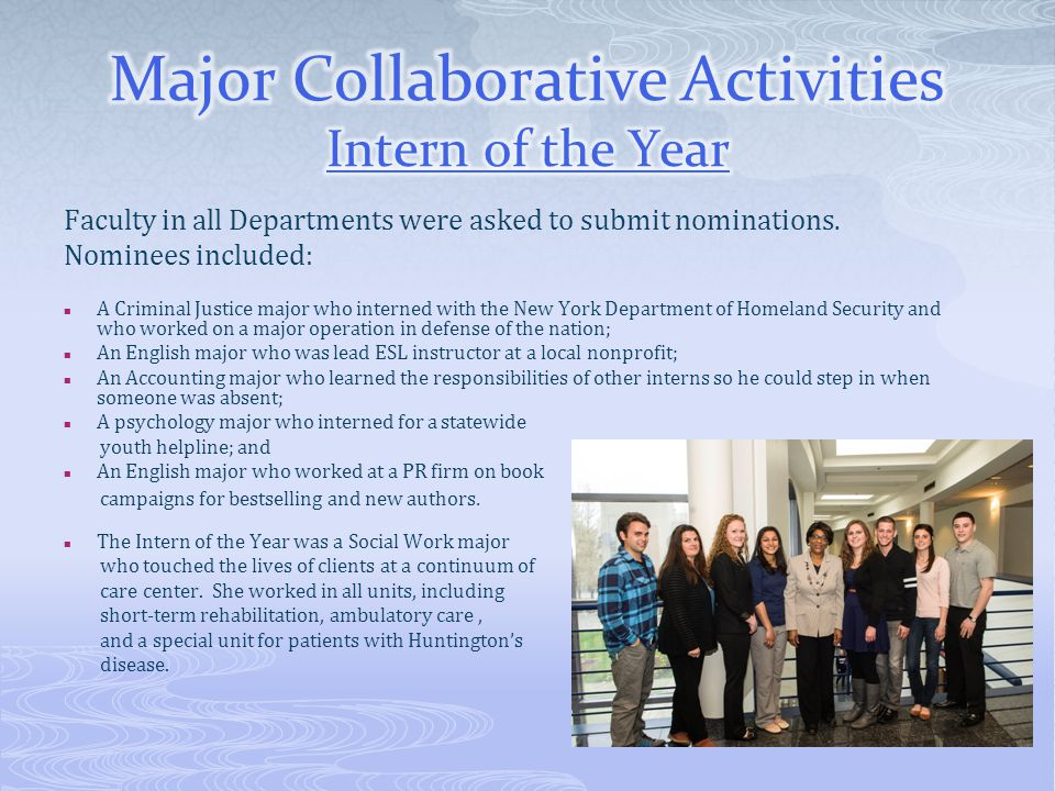 Major Collaborative Activities Intern of the Year