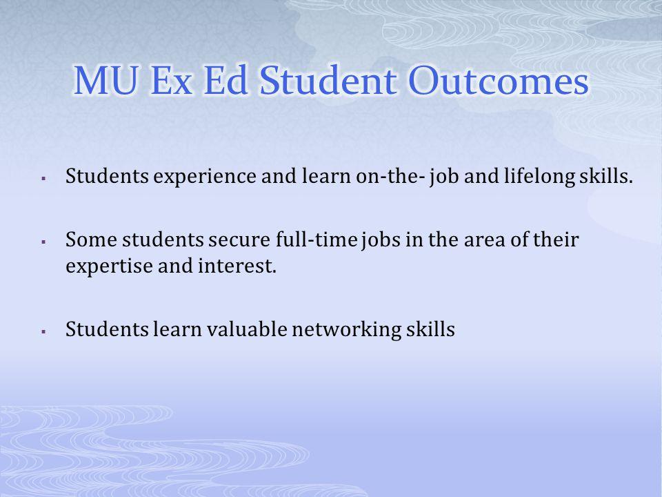 MU Ex Ed Student Outcomes