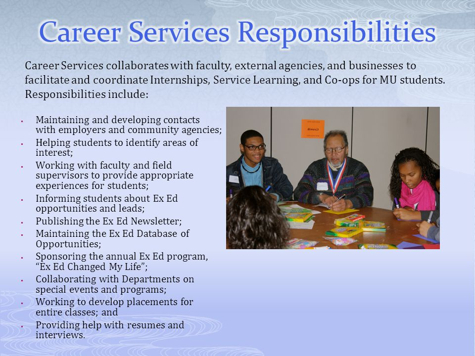 Career Services Responsibilities