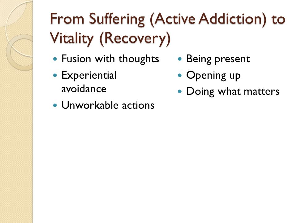 From Suffering (Active Addiction) to Vitality (Recovery)