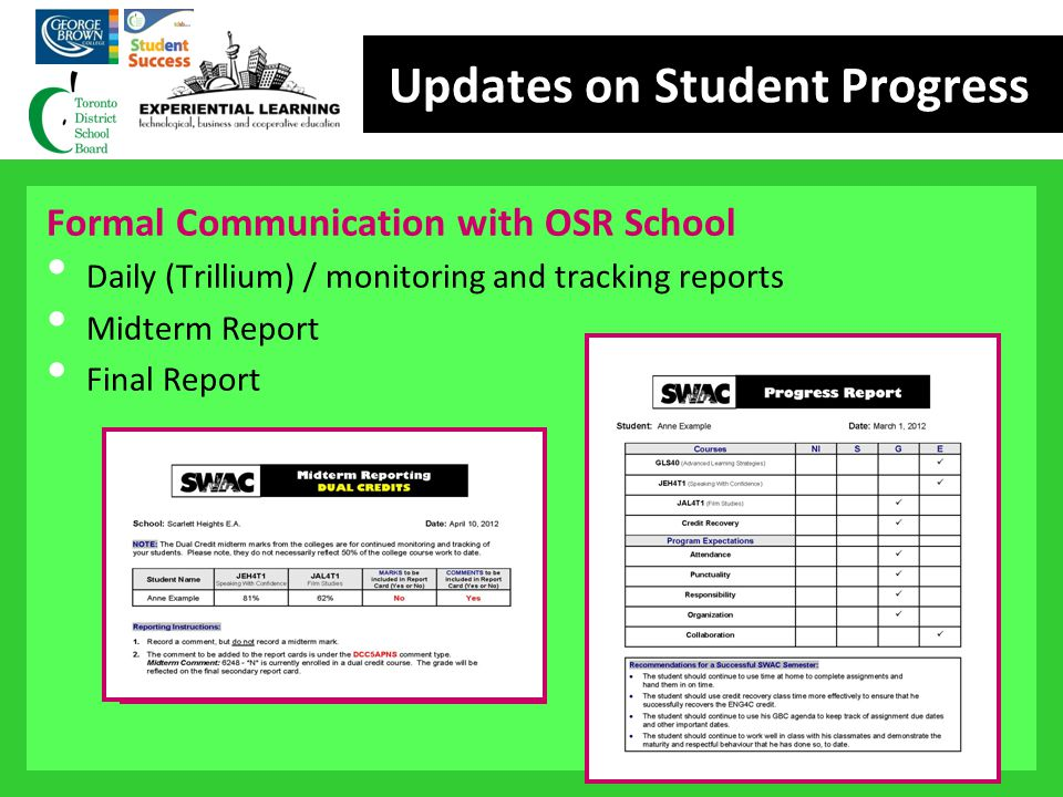 Updates on Student Progress