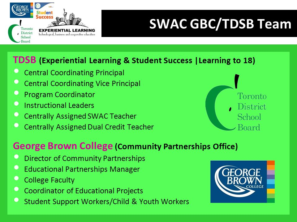 SWAC GBC/TDSB Team TDSB (Experiential Learning & Student Success |Learning to 18) Central Coordinating Principal.