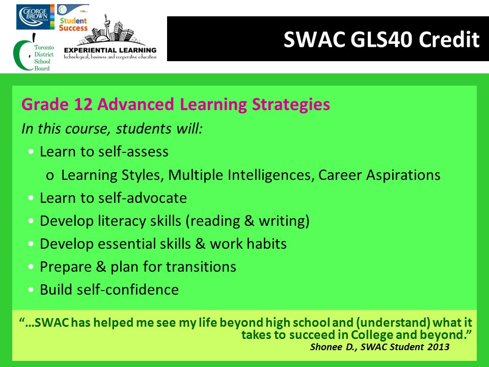 SWAC GLS40 Credit Grade 12 Advanced Learning Strategies