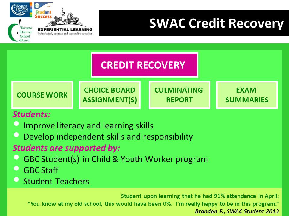SWAC Credit Recovery CREDIT RECOVERY Students:
