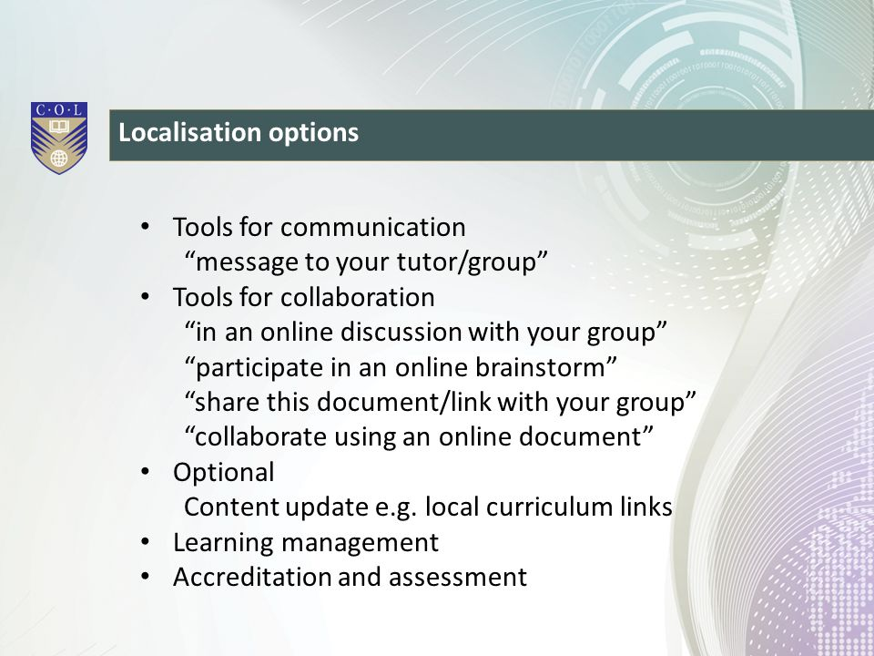 Tools for communication message to your tutor/group