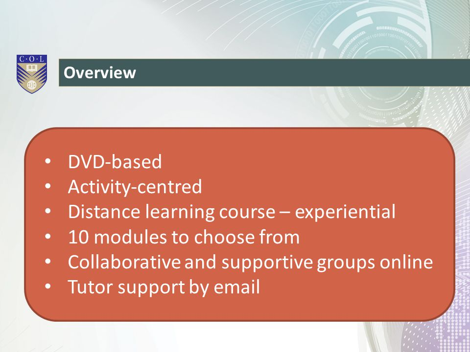 Distance learning course – experiential 10 modules to choose from